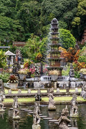 Tiered stone fountain in asia