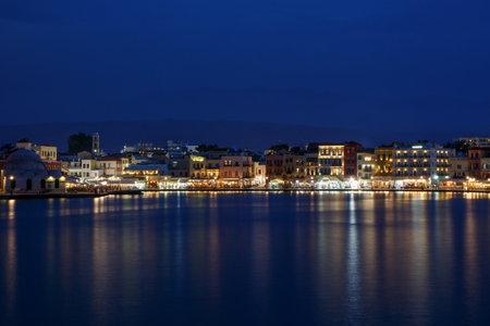 Chania, Greece - May 08, 2018. The beautiful port of Chania on evening Sajtókép