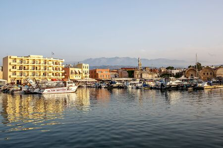 Chania, Greece - May 08, 2018. The beautiful port of Chania on sunset