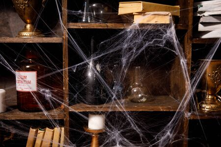 Old things on shelves shrouded in cobweb.