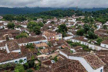 Brazilian colonial city of Paraty, aerial view