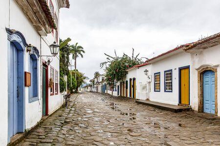 Street of Brazilian colonial city of Paraty.