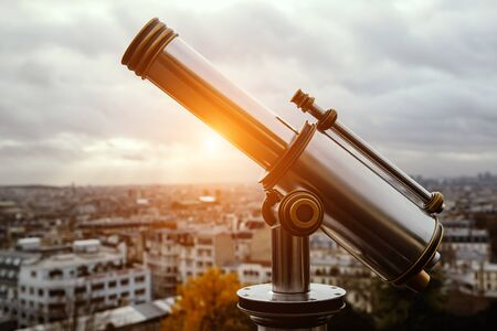 Telescope over the famous city in a wonderful place
