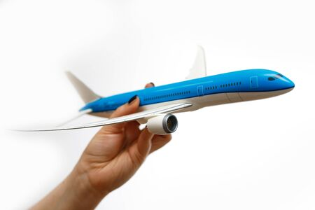Aircraft model in female hands