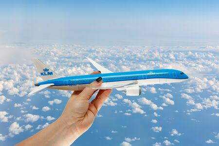 Support for the Dutch airline KLM. Help the plane in the air