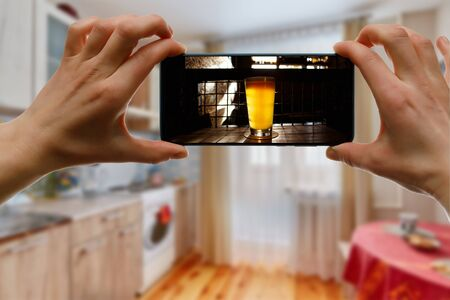 Online bar concept. Drinking with friends at home via smartphone or other gadgets