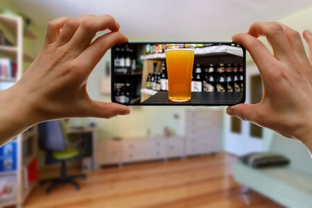 Bar via the internet. Using technologies for online drinking at home with friends