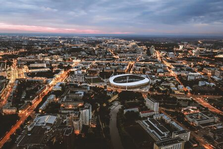 Minsk, capital of the Republic Of Belarus. Top view from drone. Dinamo football stadium in the center