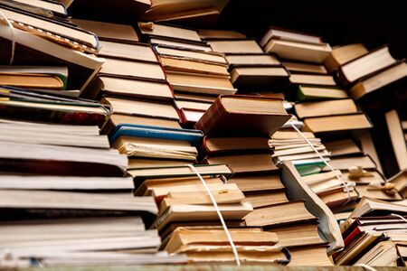 Many old books on a shelf. Repository of knowledge
