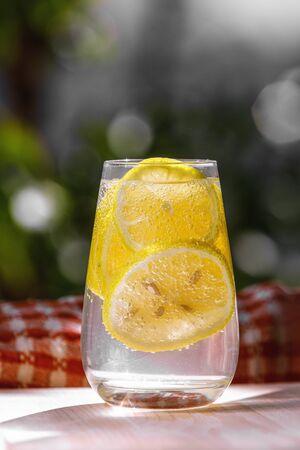 Citrus lemonade in garden setting,summer drink.
