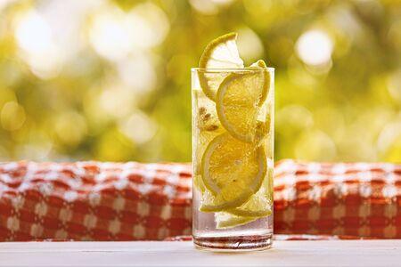 Glass of lemon water on the sunny garden background