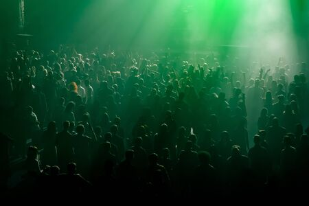 Crowd, people in front of the stage.