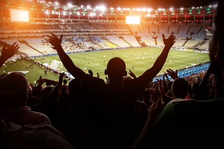 Football, soccer fan support their team and celebrate goal, score, victory. Black silhouette Stock fotó