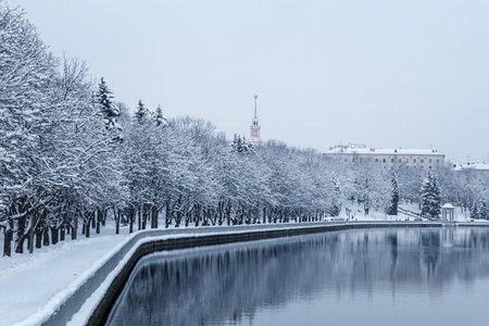 Winter panorama of the city of Minsk, the capital of Belarus Standard-Bild
