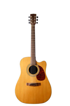 Acoustic guitar on an isolated white background.