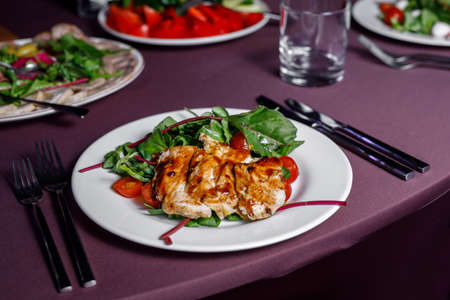 Roasted chicken fillet with berry sauce.