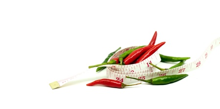 red and green thai chili in diet concept