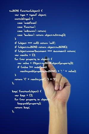 hand write chart on blue screen