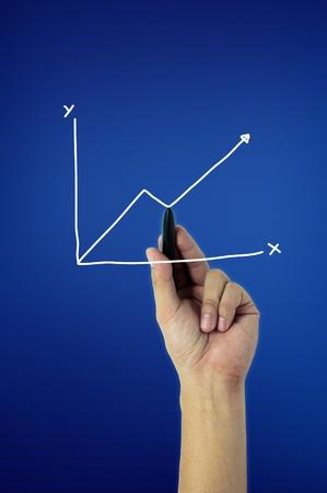 hand write graph on blue screen