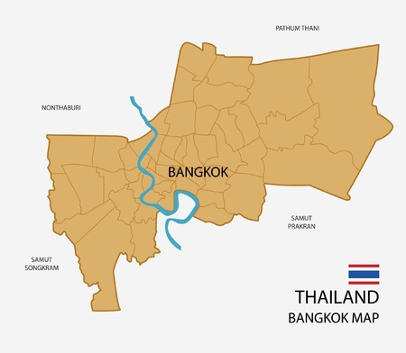 bangkok: Thailand, Bangkok Province Map isolated