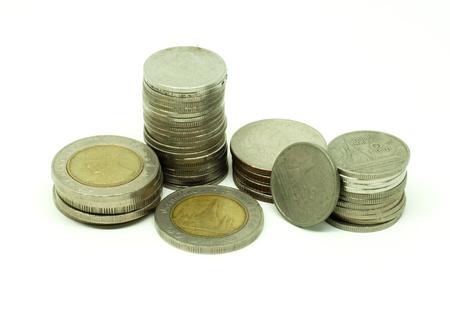 Thai coins money on white background