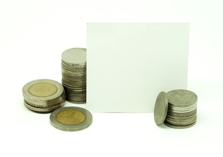 Thai coins money with white card on white background
