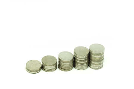 Thai coins whit graph concept on white background
