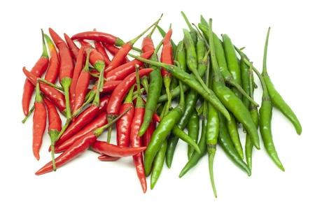 Thai red hot chili on white background