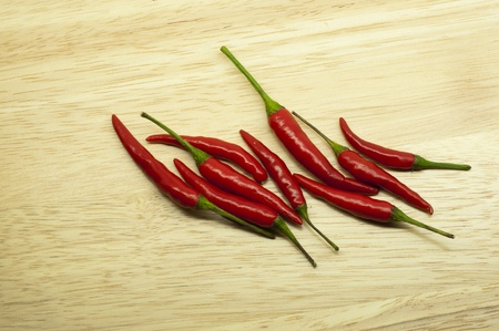 ingradient: Thai red hot chili on wood background