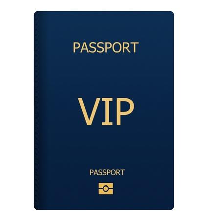 VIP blue passport isolated on white background Standard-Bild