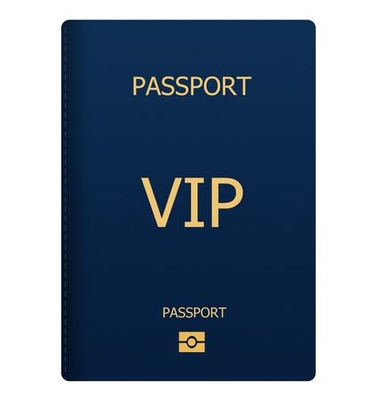 VIP blue passport isolated on white background Stock Photo