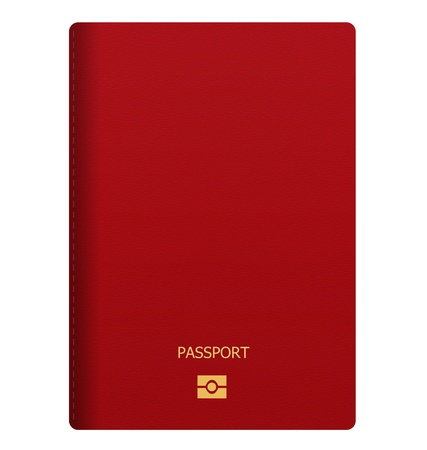 blank red passport isolated on white background