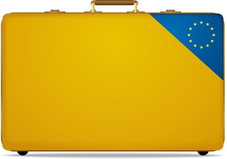 eu: yellow travel luggage with EU flag screen
