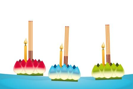 bangkok night: loi krathong floating water ,thailand festival