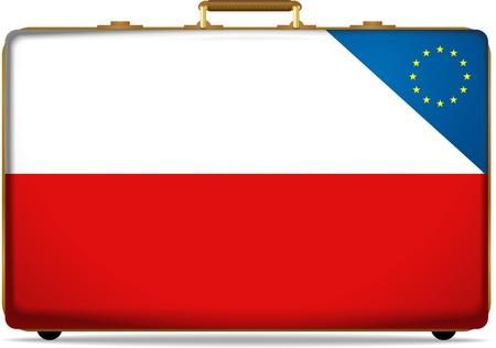 poland flag on luggage photo
