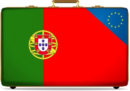 portugal flag on luggage photo