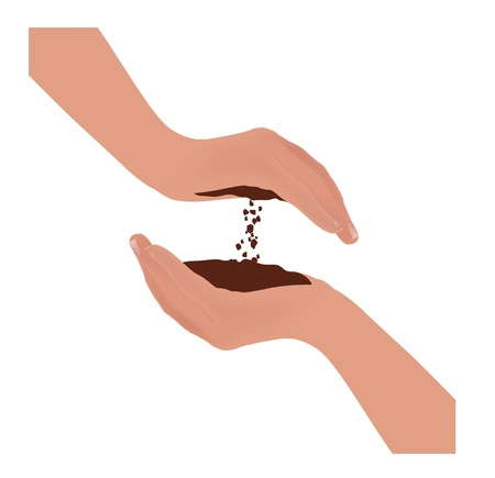mano derecha: arcilla ca�da de la mano izquierda a mano derecha concepto Vectores