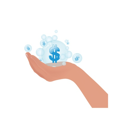 us currency: us currency symbol dollar in bubble on hand concept Illustration