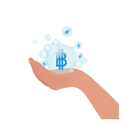 thai currency symbol baht in bubble on hand concept