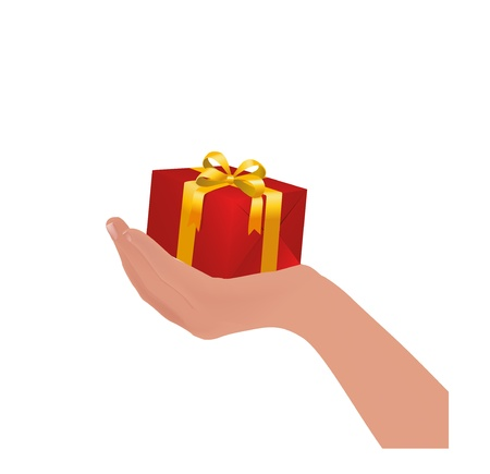 red gift box: red gift box on hand