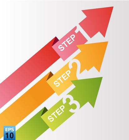 color arrow 3 step Illusztráció