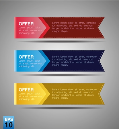 color ribbon set label Stock Vector - 16802097