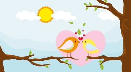 birds in love with summer background Stock Vector - 16802099