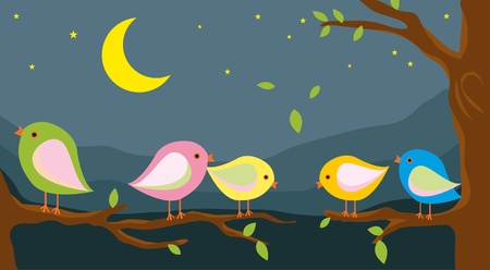birds on blank tree with night background Illustration