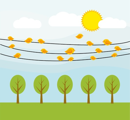 yellow birds on wire Stock Vector - 16802119