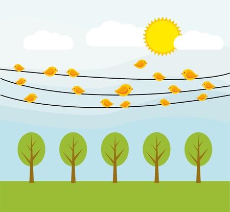 yellow birds on wire Stock Vector - 16802119