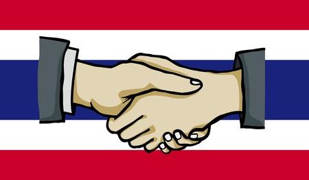 polity: hand shake on thai flag , vector