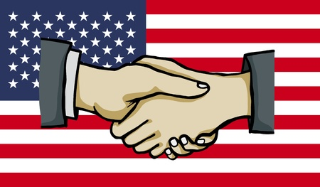 polity: hand shake on united states flag , vector Illustration