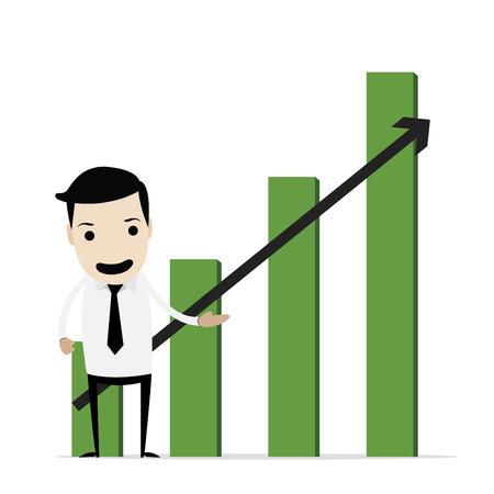 stock trader: Hombre de negocios con la acci�n gr�fica