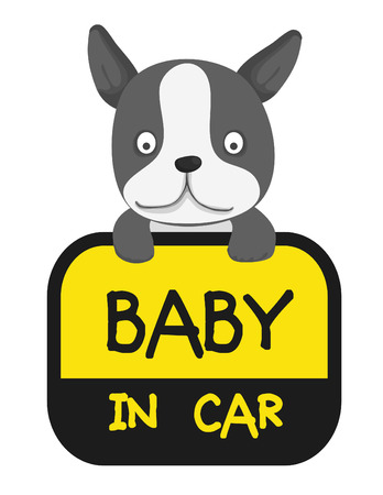 baby in car sticker,animal tag collection Illustration